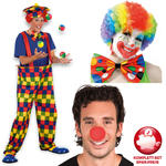 Kostüm-Komplett-Set Herren Clown BonBon, One size
