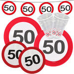 NEU Party-Set 8 G�ste 50. Birthday Verkehrsdesign