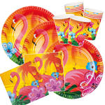 Party-Set-Basic für 6 Gäste Hawaii Flamingo