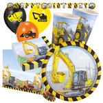 NEU Party-Set-Premium 8 G�ste Baustelle Bagger