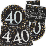 NEU Party-Set-Basic f.8 Gäste Bday Sparkling 40