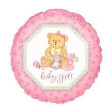 SALE Folienballon Baby Girl Teddy, 45 cm