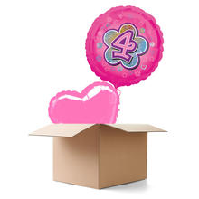 Ballongr�sse Happy Birthday, M�dchen 4, 2 Ballons