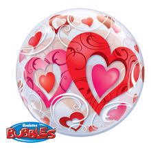 Luftballon Helium-Bubble Hearts, ca. 56 cm