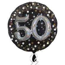 NEU Folienballon Sparkling Birthday 50th, 81 cm