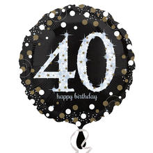 NEU Folienballon Sparkling Birthday 40th, 45 cm