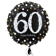 Folienballon Sparkling Birthday 60th, 45 cm