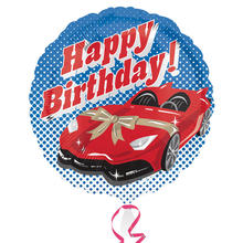 Folienballon Happy Birthday Auto, 45 cm