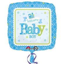 Folienballon Welcome Baby Boy, 45cm