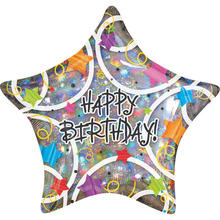 Folienballon Happy Birthday Stars, 45 cm