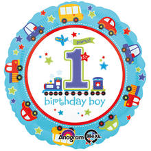 Folienballon All Aboard 1. Birthday Boy, 45 cm