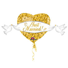 Folienballon Just Married Heart, gold 104x53cm