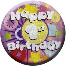 SALE Button Happy 1st Birthday 55 mm