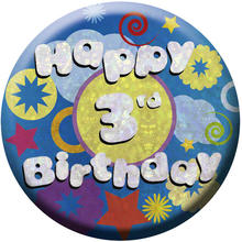 SALE Button Happy 3rd Birthday 55 mm