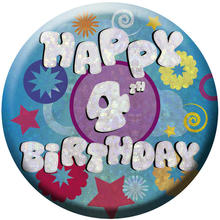 SALE Button Happy 4th Birthday 55 mm