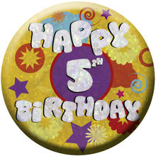 SALE Button Happy 5th Birthday 55 mm