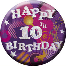 SALE Button Happy 10th Birthday 55 mm