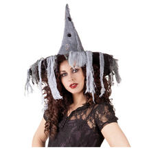 SALE Hut Zombie Witch, grau mit Fetzen