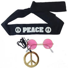 Hippie-Set, Brille, Stirnband, Peace-Zeichen