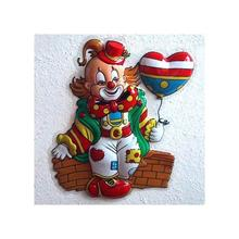 Wand-Deko Mini Clown mit Ballon, ca. 40x30 cm