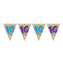 Mini-Wimpelkette Birthday Blocks 16, 3 m