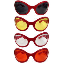 SALE Brille Seventies,rotes Gestell,farbige Gl�ser