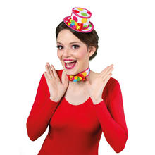 Hut Mini-Zylinder bunter Clown, mit Haarclips