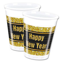 Becher Happy New Year, gold, 200ml, 8 Stk
