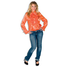 Damen-Bluse orange aus Satin, Gr. 46