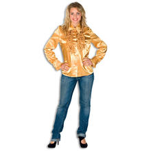Damen-Bluse gold aus Satin, Gr. 46