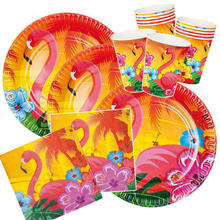 NEU Party-Set-Basic für 12 Gäste Hawaii Flamingo