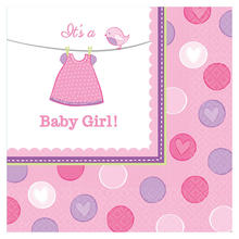 Servietten Shower Baby Girl, 33x33 cm, 16 Stk.