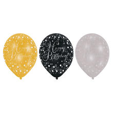 NEU Luftballon Sparkling Happy Birthday 6 Stk.