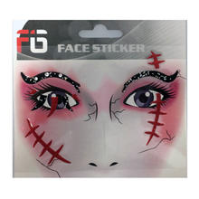 Face-Sticker Klebetattoo Wunde rot