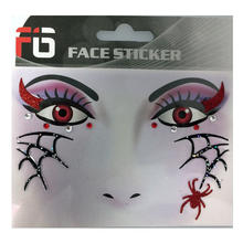 Face-Sticker Klebetattoo Spinne rot