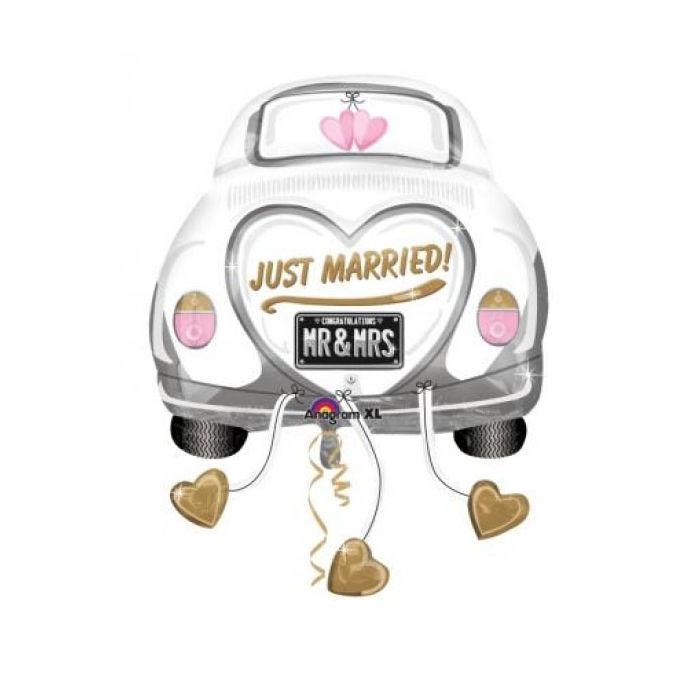 folienballon just married auto 58x79 cm hochzeitsballon ebay. Black Bedroom Furniture Sets. Home Design Ideas
