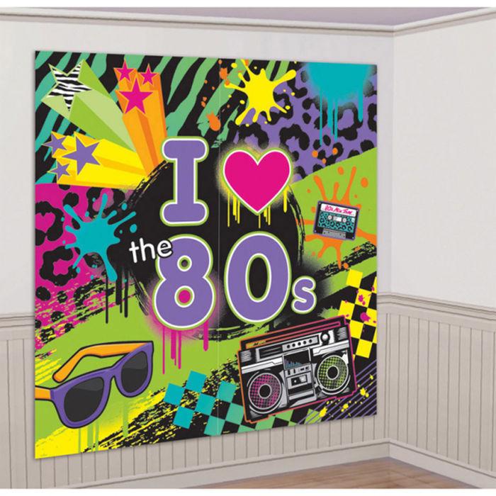Details zu NEU Wand-Deko Totally 80s, 82 x 165 cm Discoparty 80er Dekoration