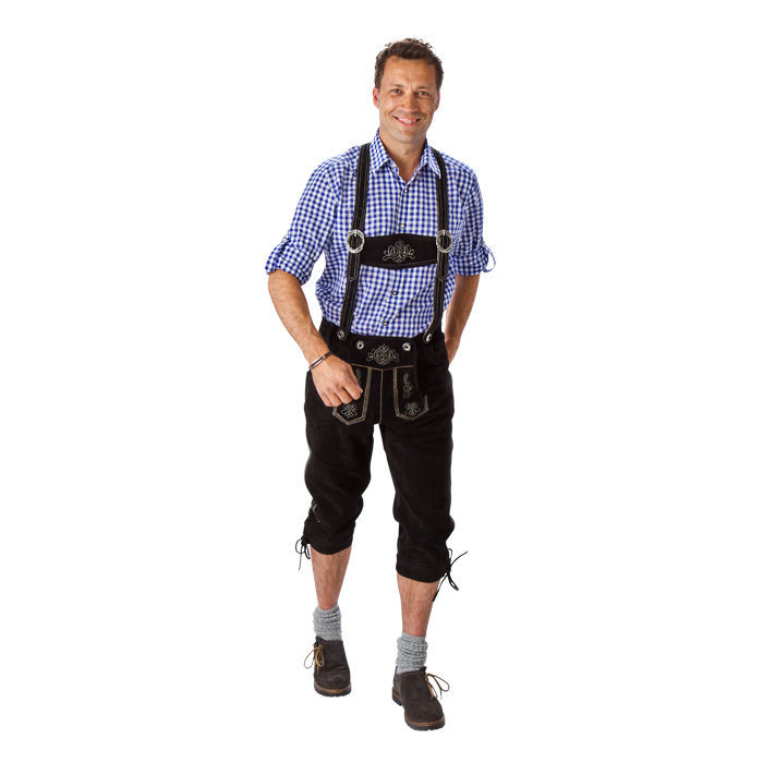 neu trachten kniebundhose aus leder schwarz lederhose oktoberfest ebay. Black Bedroom Furniture Sets. Home Design Ideas