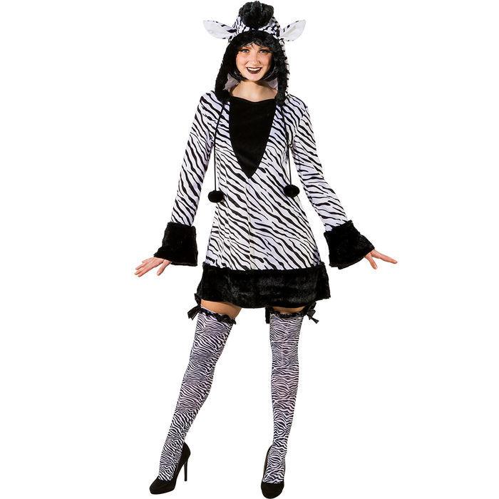 Sexy Zebrakostum Kleid Fur Damen Mit Kapuze Ideal Fur Karneval Und