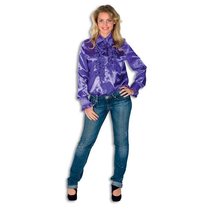 Damen bluse flieder aus satin hippie disco r schenbluse - Hippie bluse damen ...