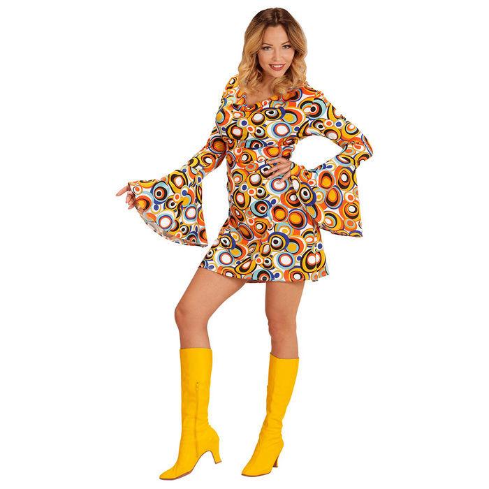Damen-Kostuem-Kleid-Bubbles-schoenes-Hippiekleid-mit-70er-Muster-fuer-Karneval