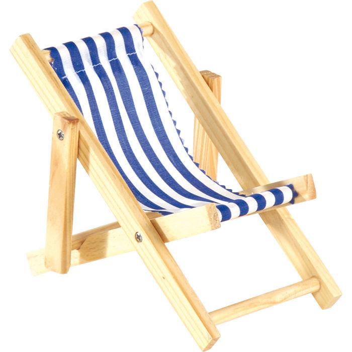 mini liegestuhl gestreift weiss blau 20 cm sonnenstuhl sonnenliege deko ebay. Black Bedroom Furniture Sets. Home Design Ideas